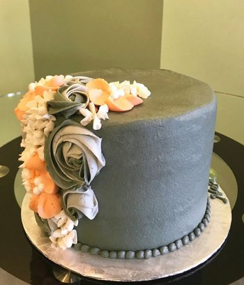 Floral Cascade Layer Cake - Grey Coral