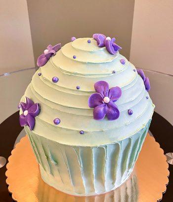 Giant Cupcake Floral Cake - Green & Purple