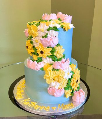 Assorted Flower Tiered Cake - Blue