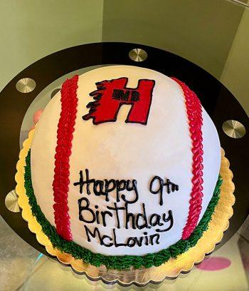 Baseball Shaped Cake - New Berlin Heat