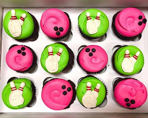 Bowling Cupcakes - Pink & Green
