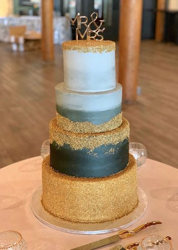 Flat Ombre Glitter Wedding Cake - Grey & Gold