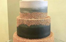 Flat Ombre Glitter Wedding Cake - Grey & Gold