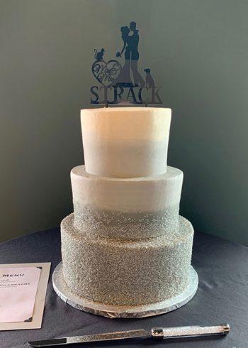 Flat Ombre Glitter Wedding Cake - Grey