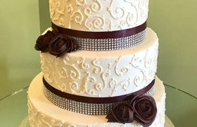 Scroll Ribbon Wedding Cake - Burgundy Roses