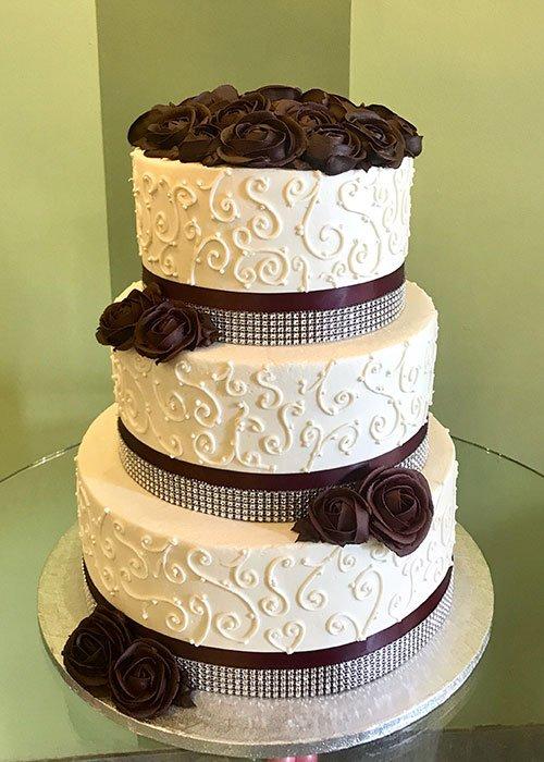 Scroll Ribbon Wedding Cake - Burgundy Roses