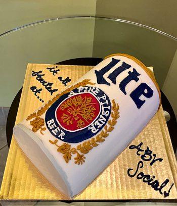 Beer Can Shaped Cake - Miller Lite