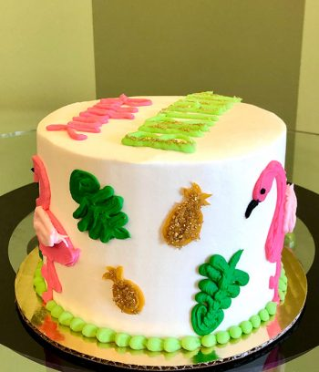 Retro Flamingo Layer Cake - Side