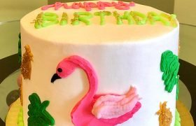 Retro Flamingo Layer Cake
