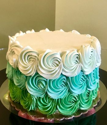 Rosette Ombre Layer Cake - Shades of Green