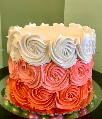Rosette Ombre Layer Cake - White, Pink & Red