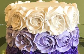 Rosette Ombre Layer Cake - White & Purple