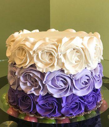 Rosette Ombre Layer Cake - White & Purple