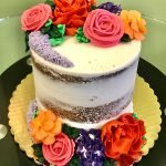 Assorted Flower Naked Layer Cake - Bright