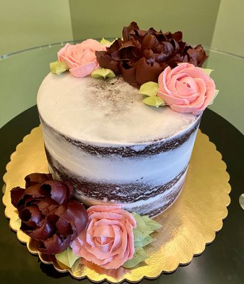 Assorted Flower Naked Layer Cake - Burgundy & Pink