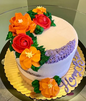 Assorted Flower Naked Layer Cake - Red & Orange