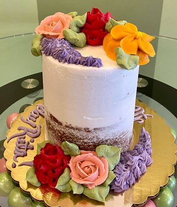 Assorted Flower Naked Layer Cake