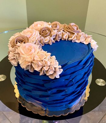 Country Petal Layer Cake - Navy & Mauve Blush