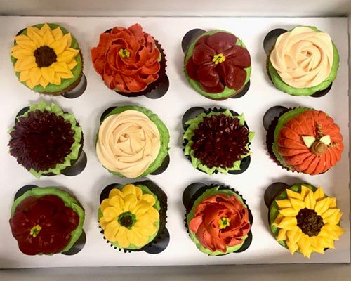 Fall Assorted Flower Cupcakes - Pumpkin & Sunflowers