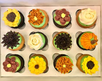 Fall Assorted Flower Cupcakes
