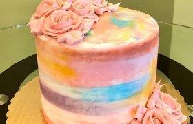 Watercolor Rose Layer Cake