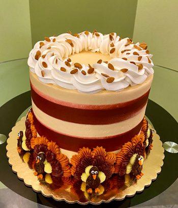 Autumn Layer Cake - Red & Orange with Turkeys