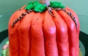 Pumpkin Shaped Layer Cake - Side