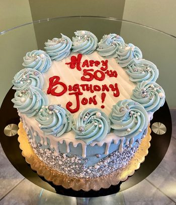 Sprinkle Drip Layer Cake - Light Blue, White, & Silver