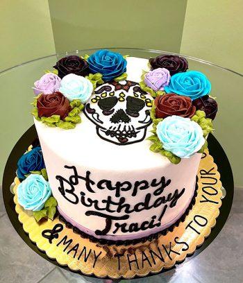 Sugar Skull Rose Layer Cake