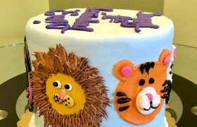 Animal Face Layer Cake - Lion & Tiger