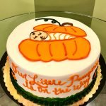 Little Pumpkin Gender Reveal Layer Cake - Top