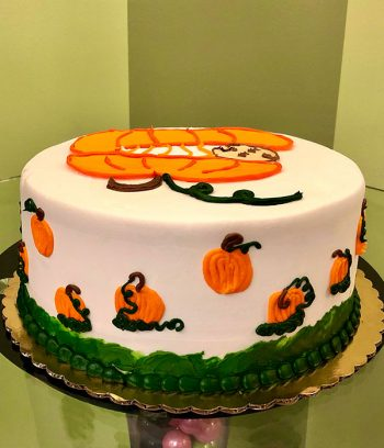 Little Pumpkin Gender Reveal Layer Cake - Side