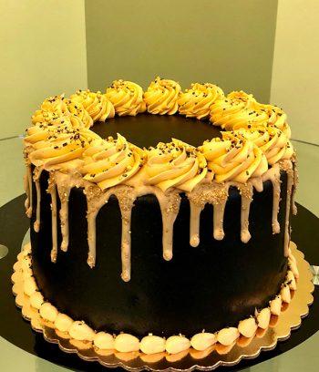 Sprinkle Drip Layer Cake - Black & Gold