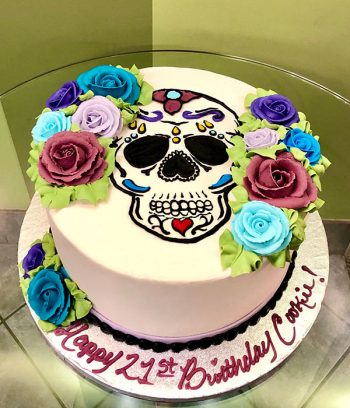 Sugar Skull Rose Layer Cake
