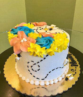 Floral Bee Layer Cake - Side