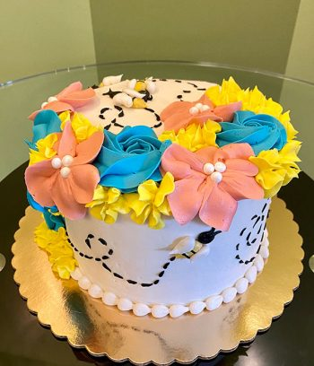 Floral Bee Layer Cake - Top