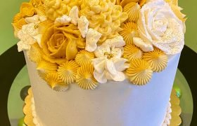 Golden Birthday Assorted Flower Layer Cake