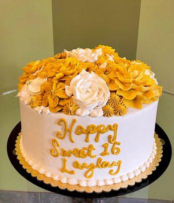 Golden Birthday Assorted Flower Layer Cake