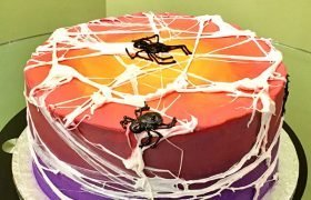 Marshmallow Spiderweb Layer Cake