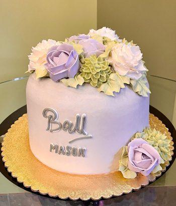 Mason Jar Vase Layer Cake - Purple & Green