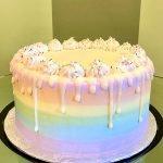 Rainbow Ombré Drip Layer Cake