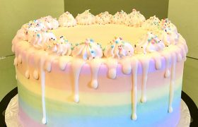 Rainbow Ombré Drip Layer Cake