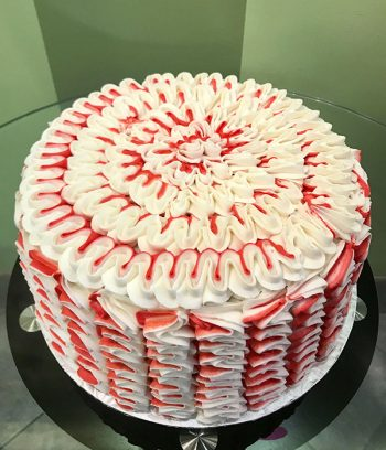 Candy Cane Ribbon Layer Cake - Red