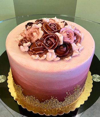 Flat Ombre Glitter Layer Cake - Burgundy Roses