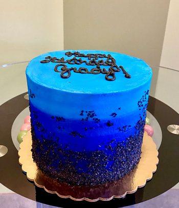 Flat Ombre Glitter Layer Cake - Blue