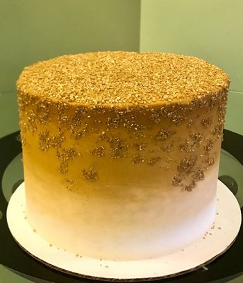 Flat Ombré Glitter Layer Cake - Gold & White