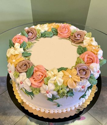 Floral Wreath Layer Cake - Top