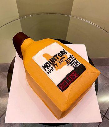 Rum Bottle Shaped Cake - Mount Gay