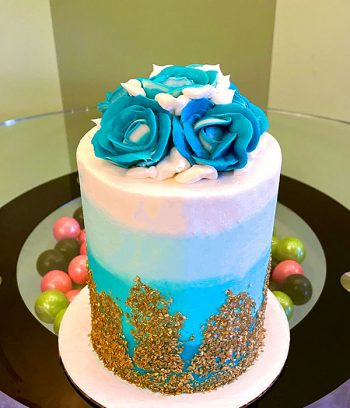 Flat Ombré Glitter Layer Cake - White & Blue