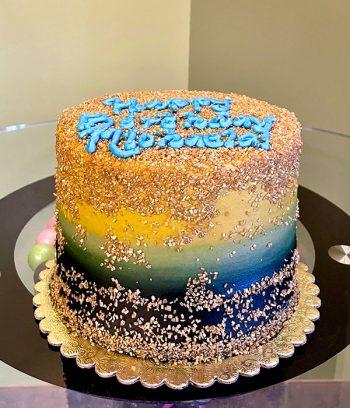 Flat Ombre Glitter Layer Cake - Blue & Gold